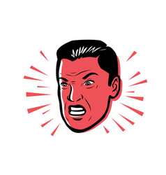 Angry man furious style pop vector