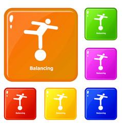 balancing icons set color vector image