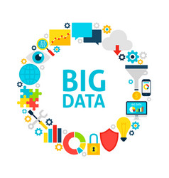Big data flat circle vector