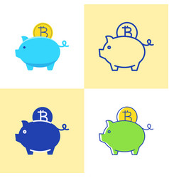 bitcoin saving concept icon set in flat and line vector image