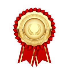 Blank award template - rosette with golden medal vector image