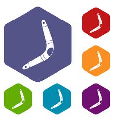 Boomerang icons set hexagon vector