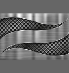 Brushed metal background with cut out perforated vector