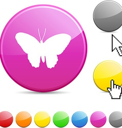 Butterfly glossy button vector image