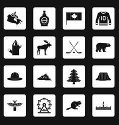 Canada travel icons set squares vector