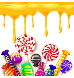 Candy sweet shop colourfull template set of vector