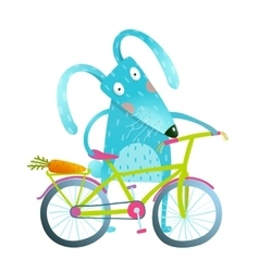 Cartoon blue bunny with bicycle vector