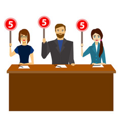 cartoon group of judges jury characters people vector image