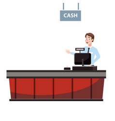cashier behind cashier counter in the vector image