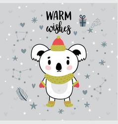 christmas card with cute little koala funny vector image