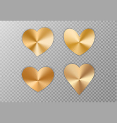 Collection of golden hearts vector