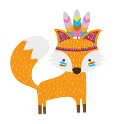 Colorful cute fox animal with feathers design vector