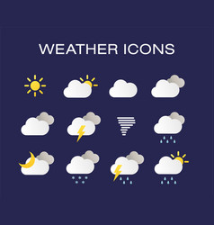 Complete set of modern realistic weather icons vector
