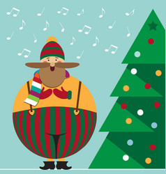 Cute christmas card with funny fat christmas carol vector