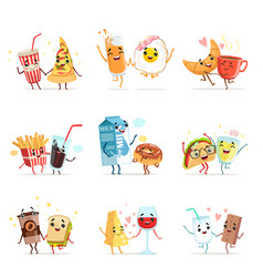 Cute comic food cartoon characters best friends vector