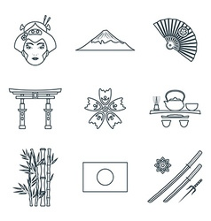 dark color outline various japan icons set vector image