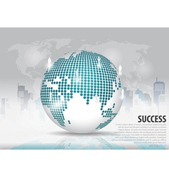 Dotted globe with building background vector image