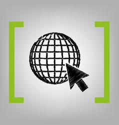 earth globe with cursor black scribble vector image