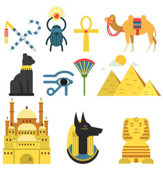 Egypt collection set with traditional symbols of vector