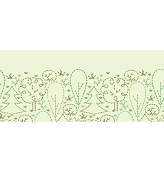 Embroidered forest horizontal seamless pattern vector image