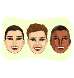 Et of multiracial male avatar expressions vector