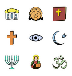 faith icons set cartoon style vector image