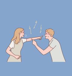 Family couple quarrel divorce aggression vector