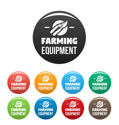 farm tool icons set color vector image