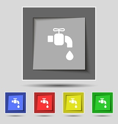 Faucet icon sign on original five colored buttons vector