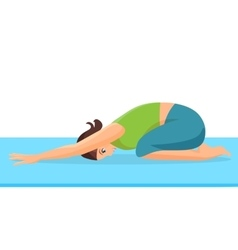 Female person doing yoga stretch on special blue vector
