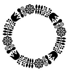 Finnish inspired round folk art pattern - black de vector