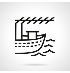 Fishing boat black line design icon vector image