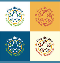 five houses logo and icon vector image