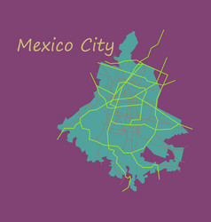 Flat color map of mexico city mexico city plan of vector