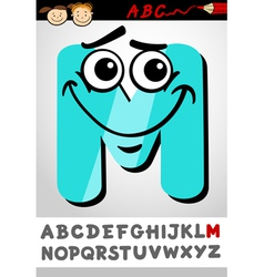 funny letter m cartoon vector image vector image