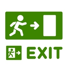 Green Emergency Exit Sign Set on White Background vector