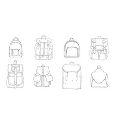 hand drawn realistic contour backpack set vector image