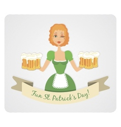 Happy St Patricks day card with girl and beer vector