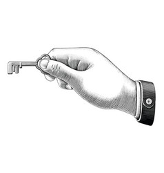 human hand holding key drawing vintage style vector image