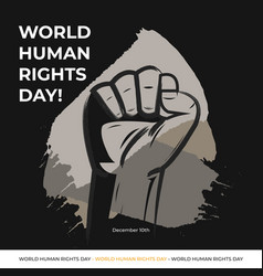 Human rights day with black vector
