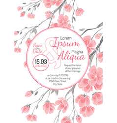invitation wedding card with sakura flowers vector image