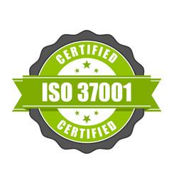 Iso 37001 standard certificate badge vector