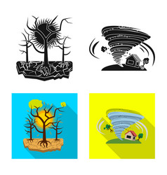 Isolated object of natural and disaster sign set vector