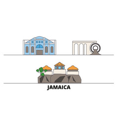 Jamaica flat landmarks vector
