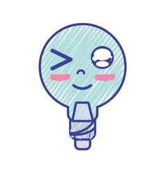 Kawaii cute funny bulb energy vector