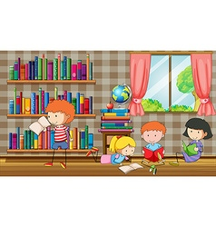 Kids reading books in the library vector