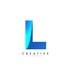 l letter logo design with 3d and ribbon effect vector image