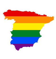 lgbt flag map of spain rainbow map of spain in vector image