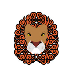 Lion abstract emblem mane ornament leo tattoo vector