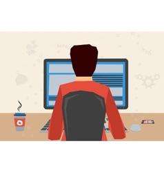 man at workplace with computer vector image